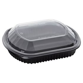 Picture of 36oz 1 Compart Microwave Blk Tray & Clr Lid