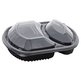 Picture of 36oz 2 Compart Microwave Blk Tray & Clr Lid
