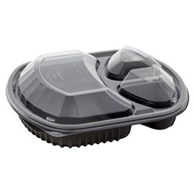 Picture of 36oz 3 Compart Microwave Blk Tray & Clr Lid