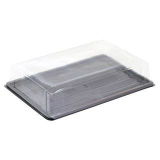 """Picture of 13"""" Rec Black Trays + Rec Lids packed in 10's"""