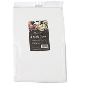 Picture of WHITE PLASTIC TABLECLOTHS 2PK