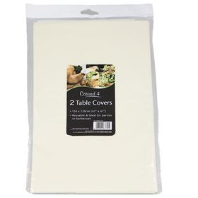 Picture of 2pk Plastic Tablecloths- Cream