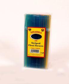 Picture of 6mmx210mm Neon Stripe Straws 250's